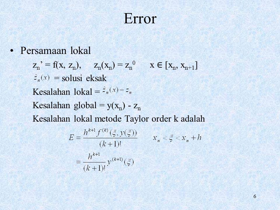 Error Persamaan lokal zn' = f(x, zn), zn(xn) = zn0 x ∈ [xn, xn+1]